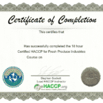 Certified HACCP Principles for Fresh Produce Industries Certificate