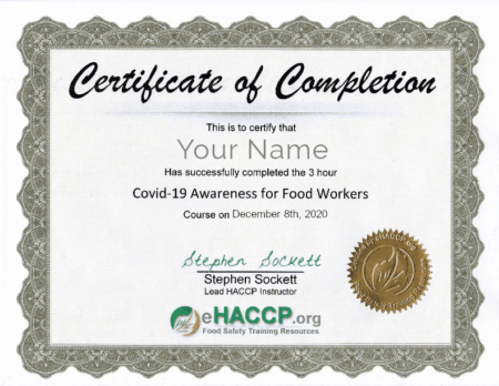 Covid-19 Awareness Course for Food Workers Certificate