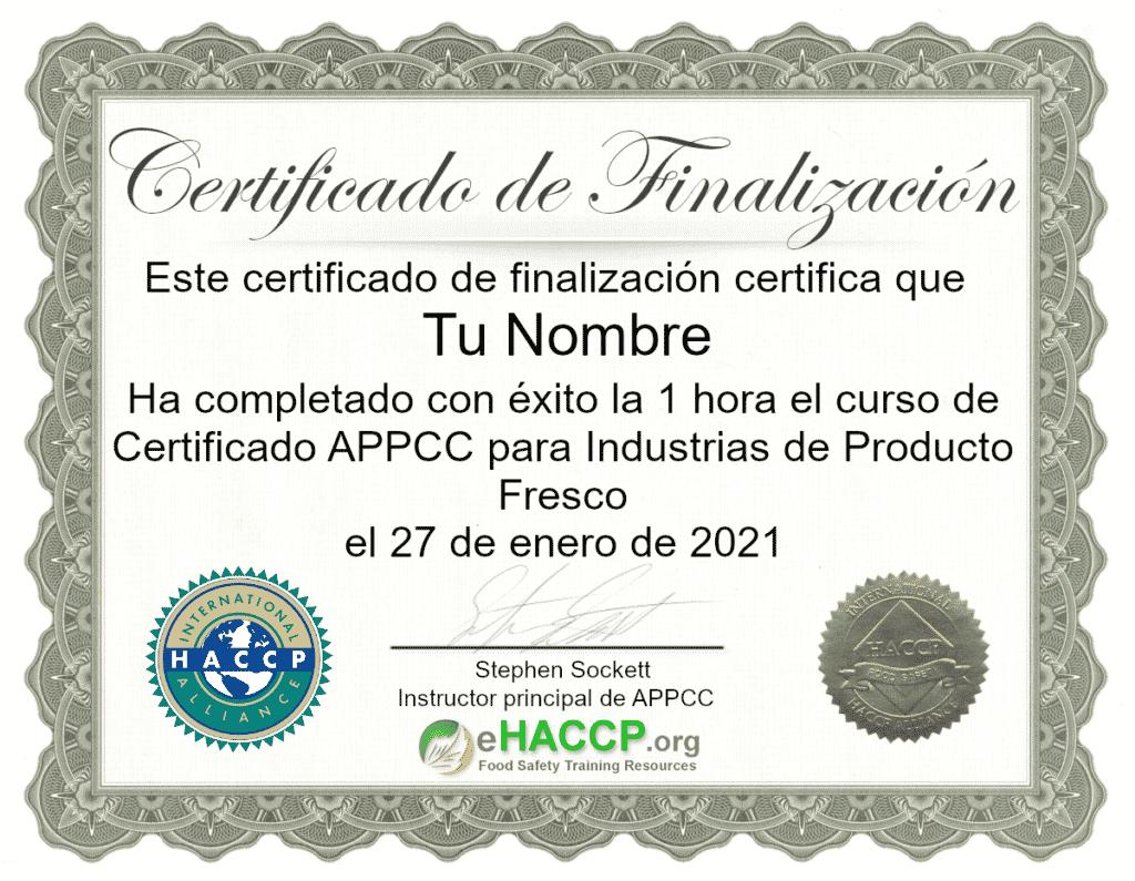 Certificado de finalización APPCC